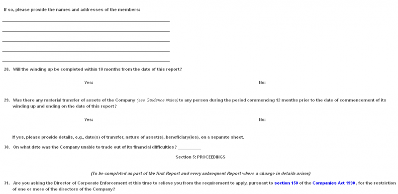 Schedule - Liquidator's Report under section 56 of the